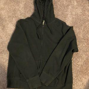 Men's army green zip up